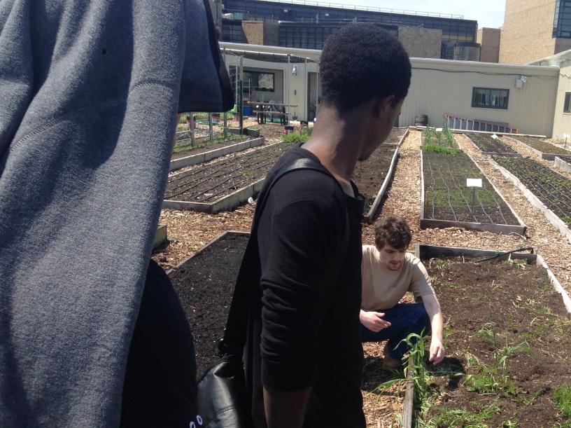 Benji leading a campus tour on the Farm